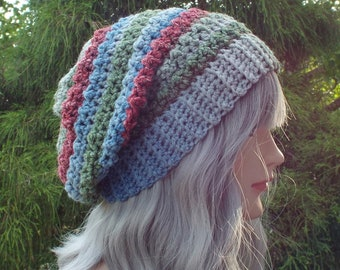 Green Blue and Red Crochet Hat, Womens Slouchy Beanie, Oversized Slouch Beanie, Slouchy Hat, Winter Hat, Multicolor Slouch Hat