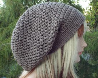 Cocoa Brown Slouchy Beanie, Womens Crochet Hat, Slouch Beanie, Hipster Hat, Oversized Slouch Hat, Baggy Beanie, Slouchy Hat