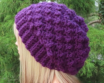 Eggplant Purple Crochet Hat, Womens Slouchy Beanie, Slouchy Hat, Oversized Slouch Beanie, Chunky Hat, Winter Hat, Slouch Hat