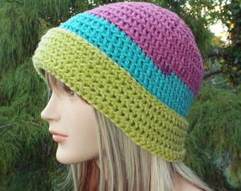 Pink Aqua and Lime Crochet Hat, Womens Beanie, Fitted Hat with Folded Brim, Winter Hat, Color Block Beanie, Winter Accessories