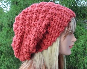 Russet Orange Crochet Hat, Womens Slouchy Beanie, Slouchy Hat, Oversized Slouch Beanie, Chunky Hat, Winter Hat, Slouch Hat