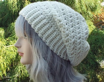 Cream Slouchy Hat, Womens Slouchy Beanie, Off White Crochet Hat, Oversized Slouch Beanie, Winter Hat, Slouch Hat