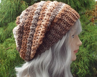 Shades of Brown Crochet Hat, Womens Slouchy Beanie, Oversized Slouch Beanie, Slouchy Hat, Brown Winter Hat, Multicolor Slouch Hat