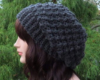 Charcoal Gray Crochet Hat, Womens Slouchy Beanie, Oversized Slouch Beanie, Chunky Hat, Slouchy Hat, Winter Hat, Dark Grey Slouch Hat