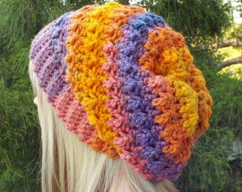 Crochet Hat in Tropical, Womens Slouchy Beanie, Oversized Slouch Beanie, Slouchy Hat, Winter Hat, Multicolor Slouch Hat, Chunky Hat