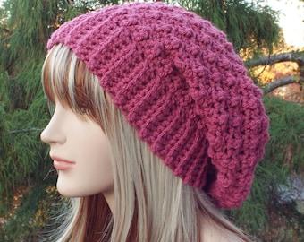 Raspberry Pink Crochet Hat, Womens Slouchy Beanie, Slouchy Hat, Oversized Slouch Beanie, Chunky Hat, Winter Hat, Slouch Hat