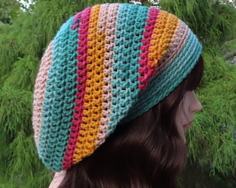 Moroccan Multicolor Slouchy Beanie, Womens Crochet Hat, Slouchy Hat, Oversized Slouch Beanie, Hipster Hat, Striped Slouch Hat, Baggy Beanie