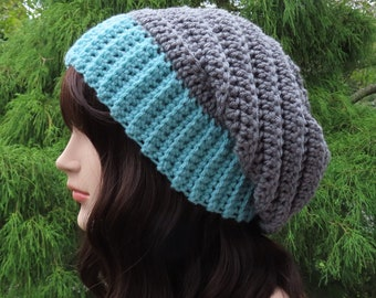 Slate Gray and Light Teal Slouchy Hat, Womens Slouchy Beanie, Crochet Hat, Oversized Slouch Beanie, Winter Hat, Two Tone Slouch Hat