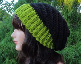 Black and Lime Green Slouchy Hat, Womens Slouchy Beanie, Crochet Hat, Oversized Slouch Beanie, Winter Hat, Two Tone Slouch Hat