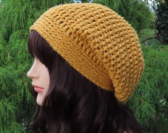 Mustard Yellow Slouchy Beanie, Womens Crochet Hat, Oversized Slouch Beanie, Chunky Hat, Baggy Beanie, Slouchy Hat, Winter Hat, Slouch Hat