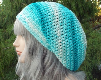 Ocean Multicolor Slouchy Beanie, Womens Crochet Hat, Slouchy Hat, Oversized Slouch Beanie, Hipster Hat, Striped Slouch Hat, Baggy Beanie