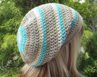 Slouchy Beanie, Womens Crochet Hat, Sandbar Stripe Multicolor Slouch Beanie, Hipster Hat, Oversized Slouch Hat, Baggy Beanie, Slouchy Hat