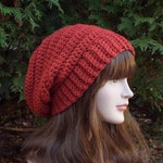 Cinnamon Red Crochet Hat, Womens Slouchy Beanie, Oversized Slouch Beanie, Chunky Hat, Boho Slouchy Hat, Winter Hat, Slouch Hat