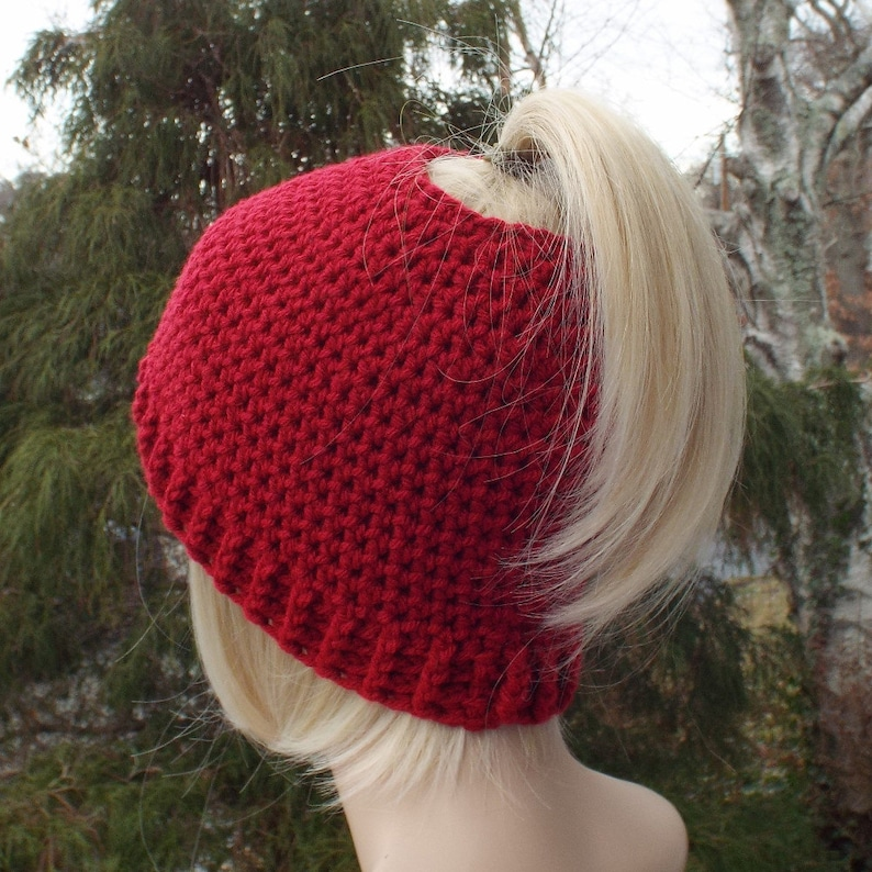 Womens Messy Bun Hat Cranberry Red Crochet Hat Ponytail image 0