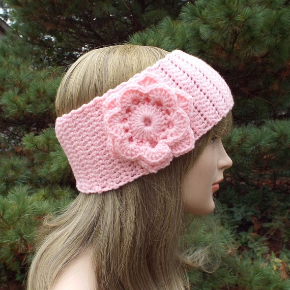 Pink Ear Warmer Crochet Headband With Flower Head Wrap Etsy