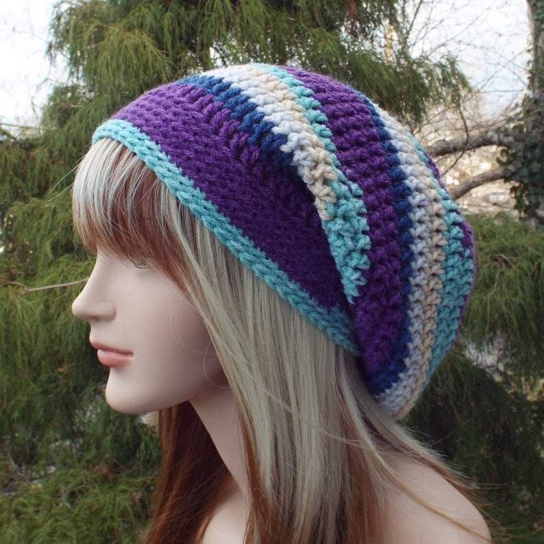 Slouchy Beanie Womens Crochet Hat Constellation Multicolor image 0