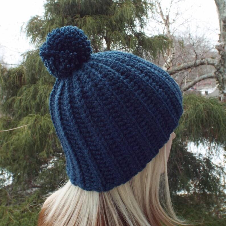 Dark Denim Blue Crochet Hat Womens Beanie with Pom Pom image 0