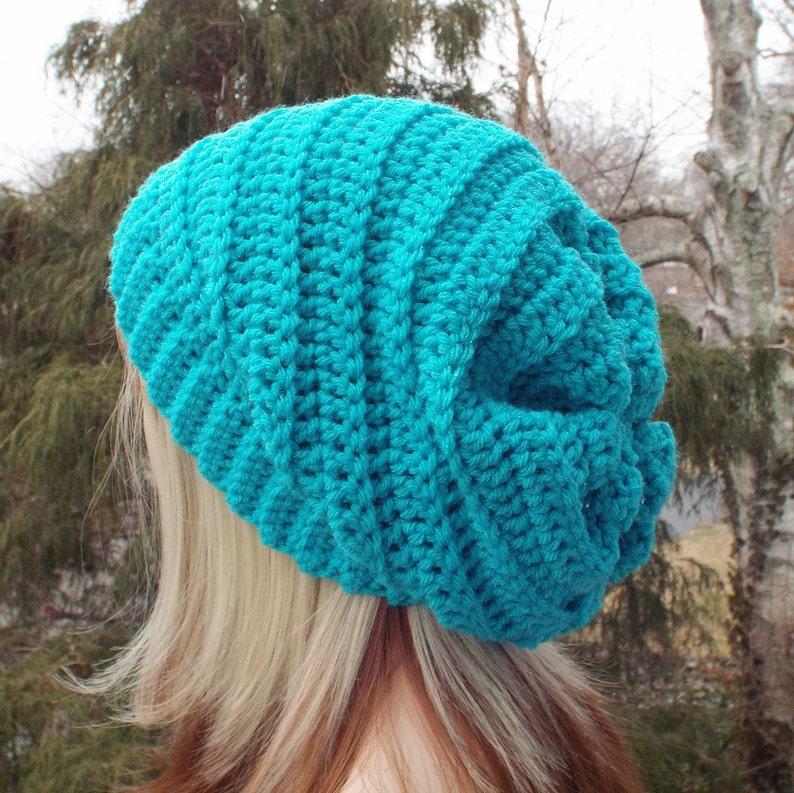 Turquoise Crochet Hat Womens Slouchy Beanie Boho Slouchy image 0