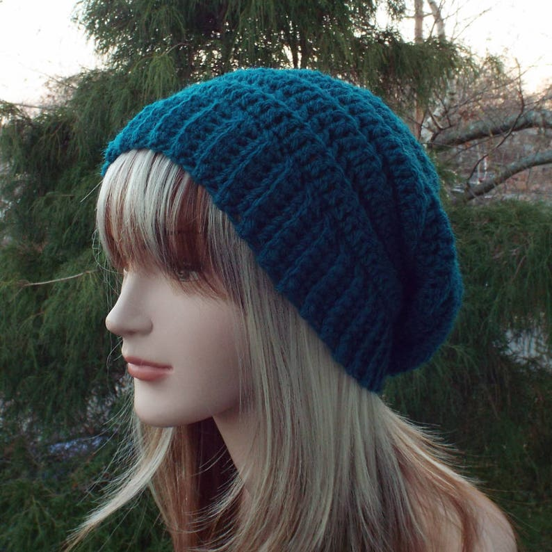 Dark Teal Crochet Hat Womens Slouchy Beanie Boho Slouchy image 0