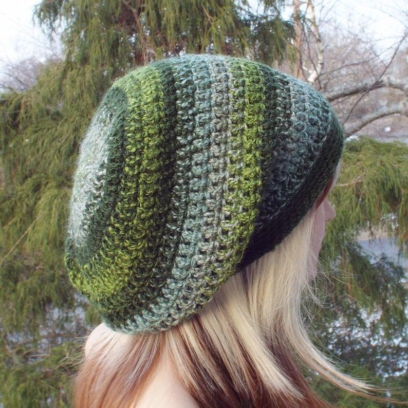 Striped Green Slouchy Beanie Womens Crochet Hat Boho Slouchy image 0