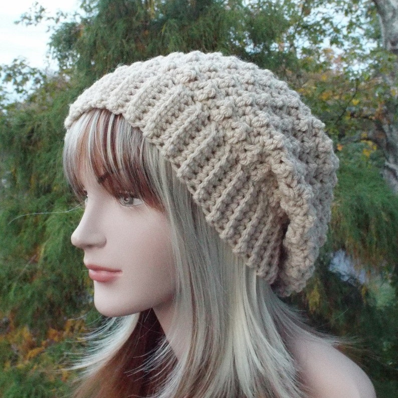 Vanilla Cream Crochet Hat Womens Slouchy Beanie Slouchy Hat image 0