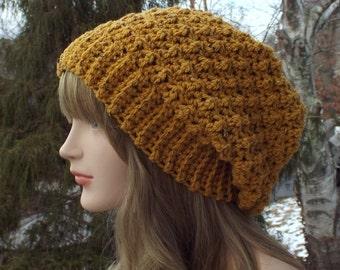 Mustard Yellow Crochet Hat, Womens Slouchy Beanie, Slouchy Hat, Oversized Slouch Beanie, Chunky Hat, Tweed Hat, Winter Hat, Slouch Hat