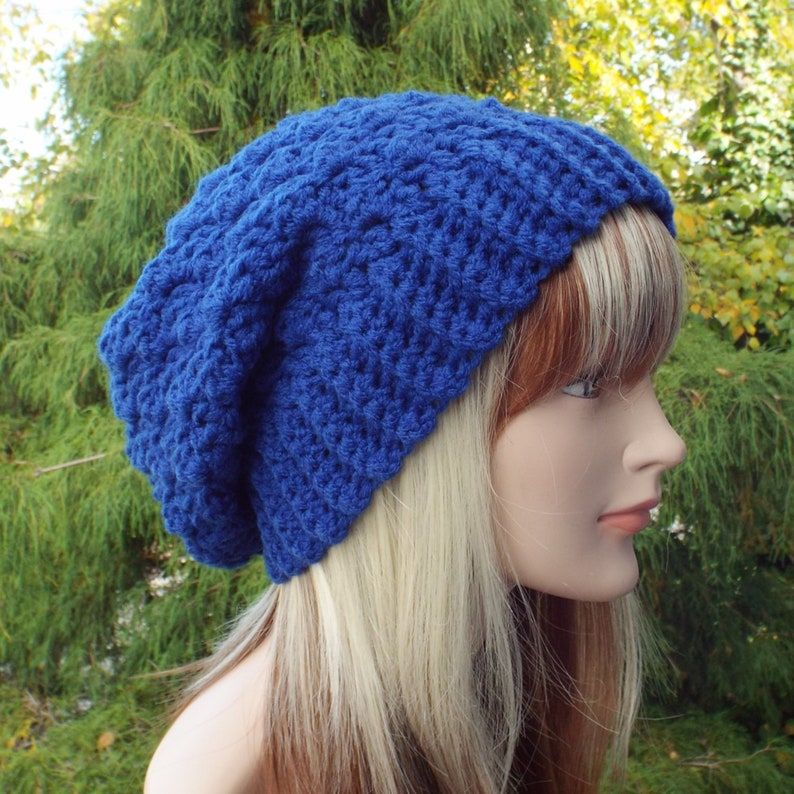 Cobalt Blue Crochet Hat Womens Slouchy Beanie Oversized image 0