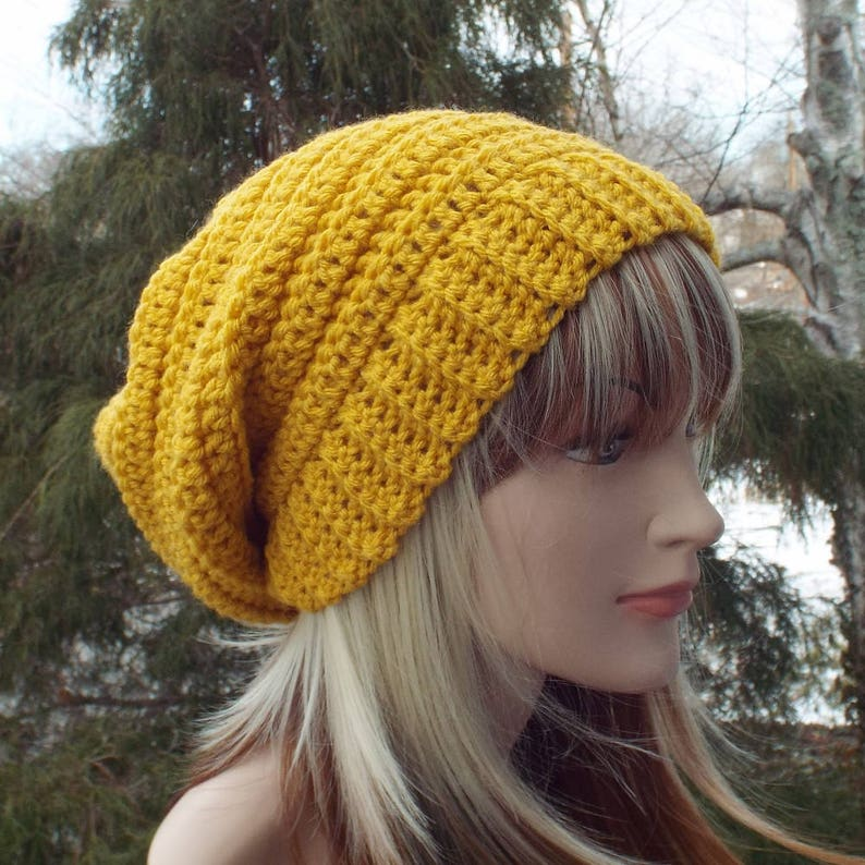 Golden Yellow Crochet Hat Womens Slouchy Beanie Boho Slouchy image 0