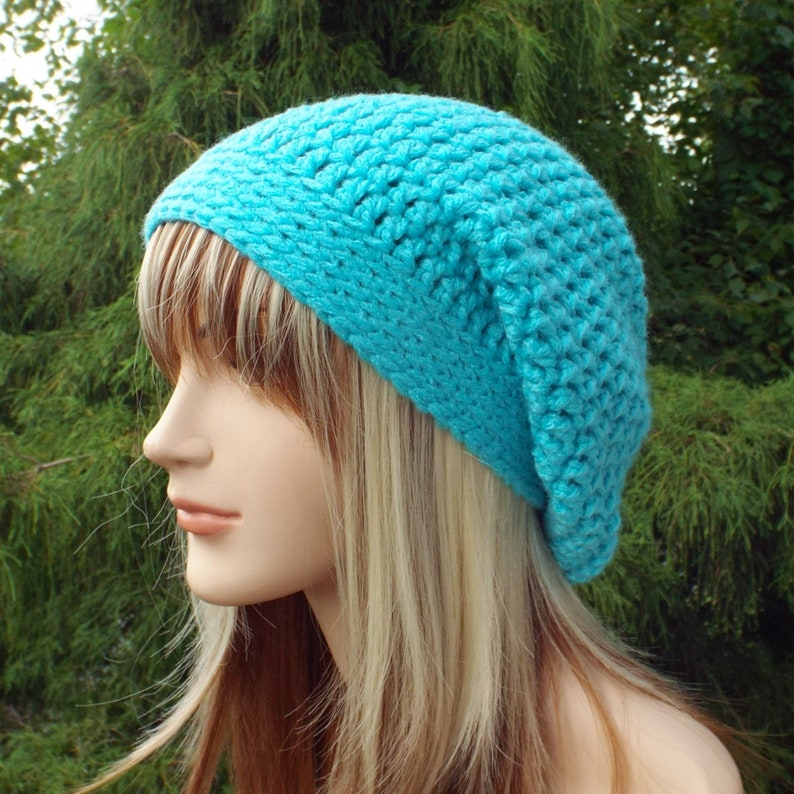 Aqua Blue Slouchy Beanie Womens Crochet Hat Oversized Slouch image 0