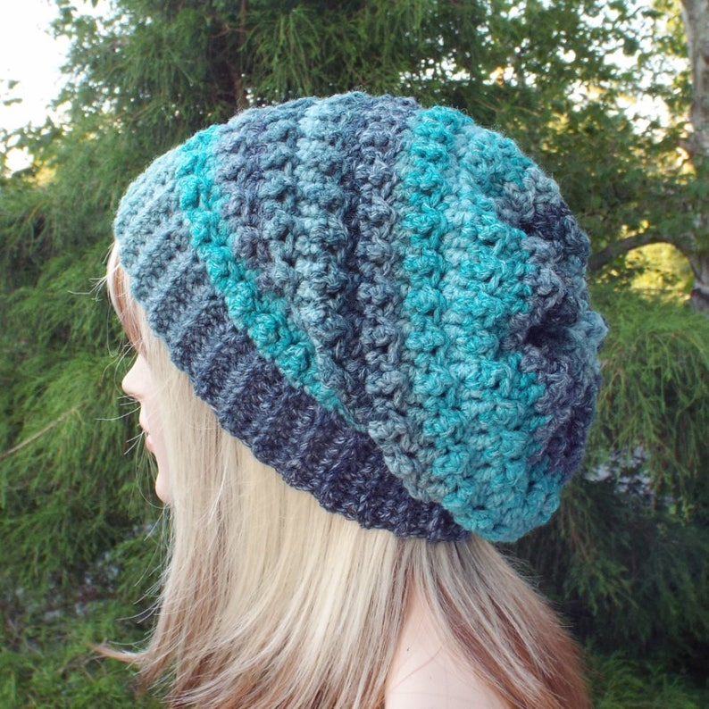 Teal and Navy Blue Crochet Hat Womens Slouchy Beanie image 0