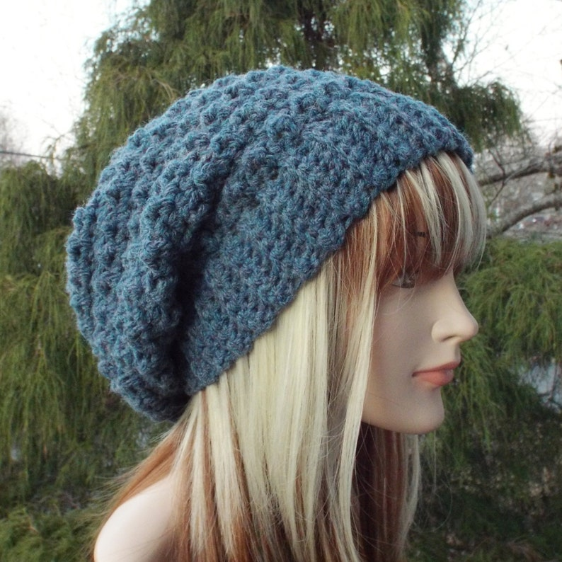 Blue Heather Crochet Hat Womens Slouchy Beanie Slouchy Hat image 0