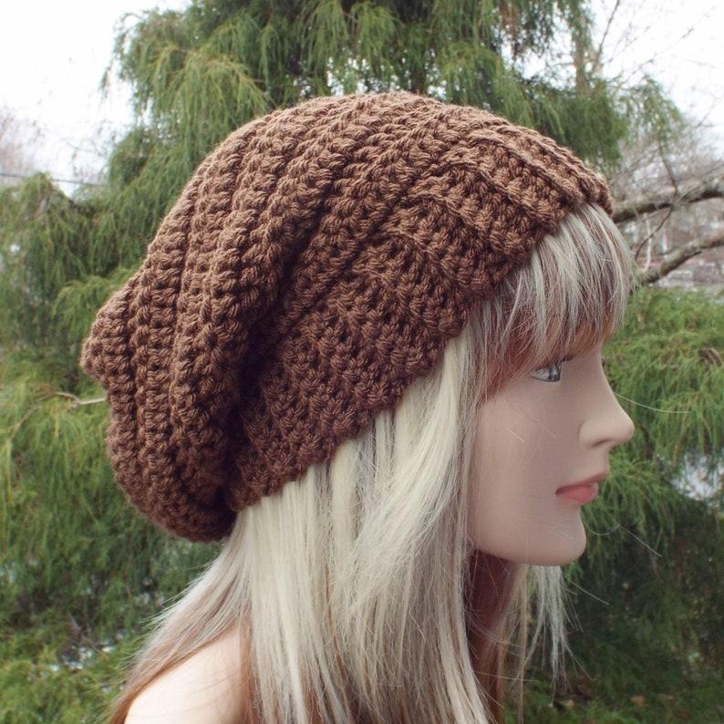 Mocha Brown Crochet Hat Womens Slouchy Beanie Boho Slouchy image 0