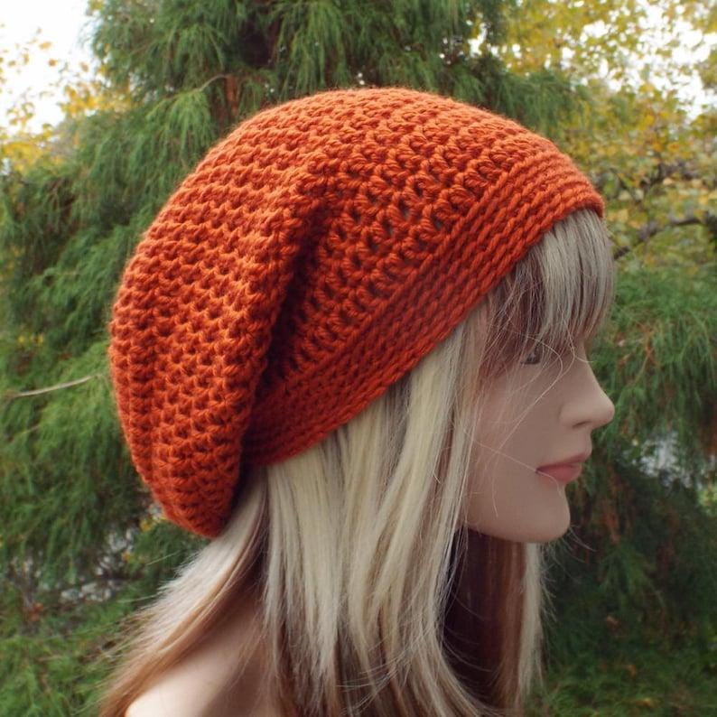 Rust Orange Slouchy Beanie Womens Crochet Hat Oversized image 0