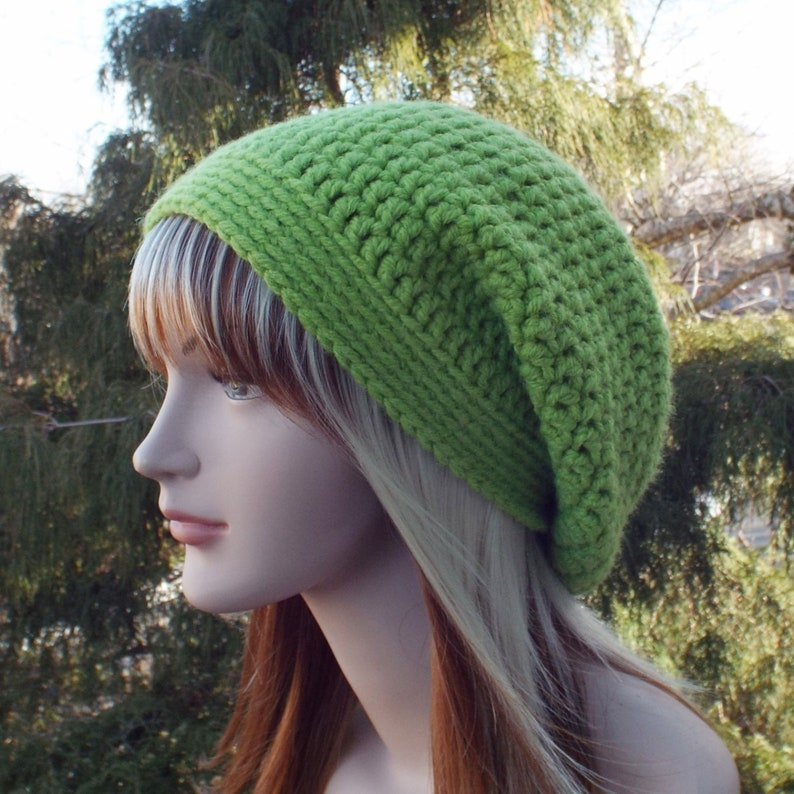 Light Spring Green Slouchy Beanie Womens Crochet Hat image 0