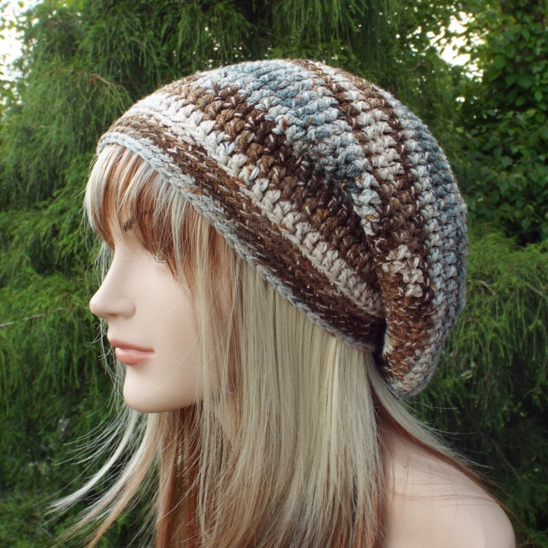 Gray and Brown Slouchy Beanie Womens Crochet Hat Slouch image 0