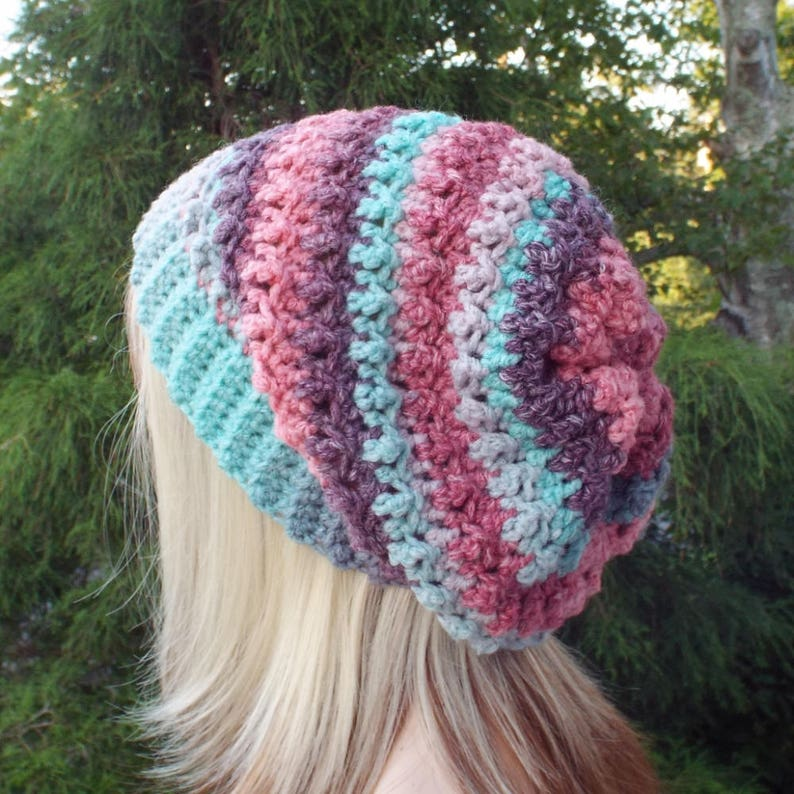 9d8691ed3e1 Pink Purple and Aqua Crochet Hat Womens Slouchy Beanie