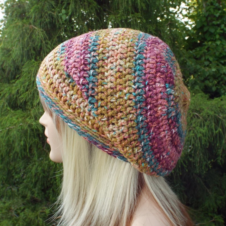 Slouchy Beanie Womens Crochet Hat Confetti Multicolor Slouch image 0