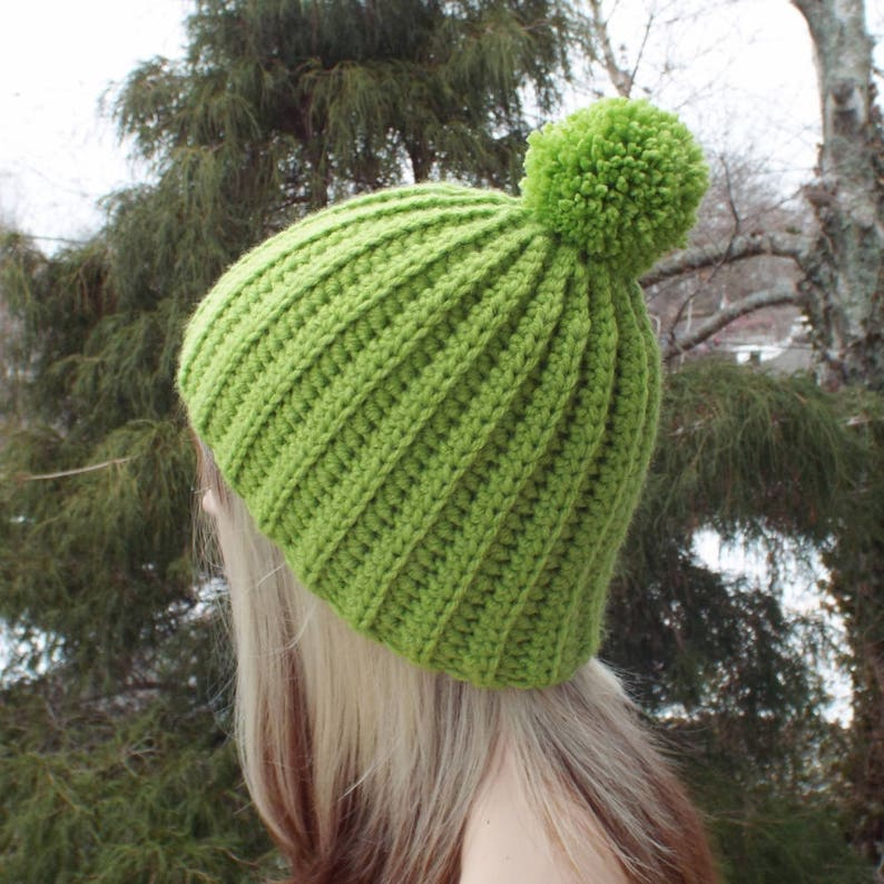 Light Spring Green Crochet Hat Womens Beanie with Pom Pom image 0
