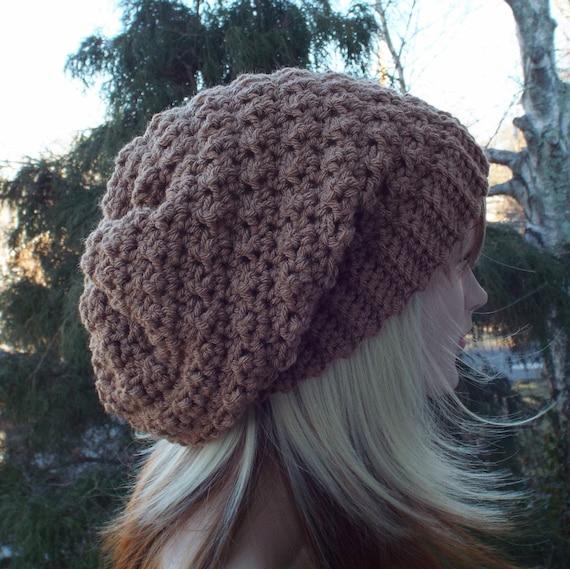 6605eac3da4 Light Chocolate Brown Crochet Hat Womens Slouchy Beanie