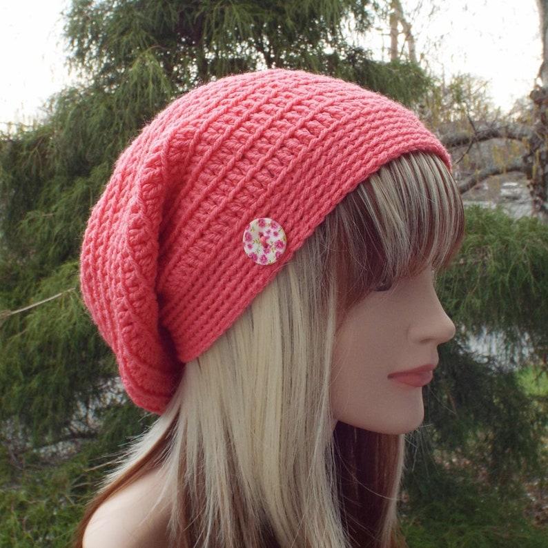 Melon Pink Slouchy Beanie Womens Crochet Hat Oversized image 0
