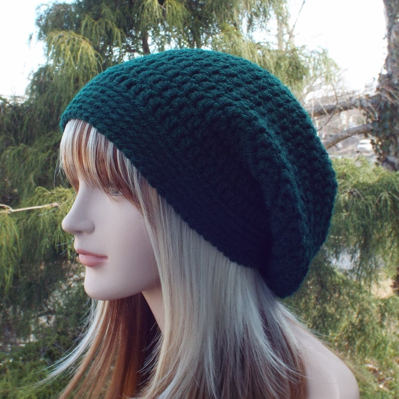 Hunter Green Slouchy Beanie Womens Crochet Hat Oversized image 0