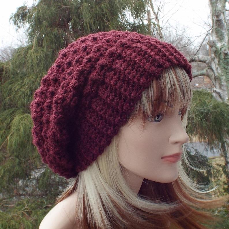 c85f89a8515 Oxblood wine crochet hat womens slouchy beanie slouchy hat
