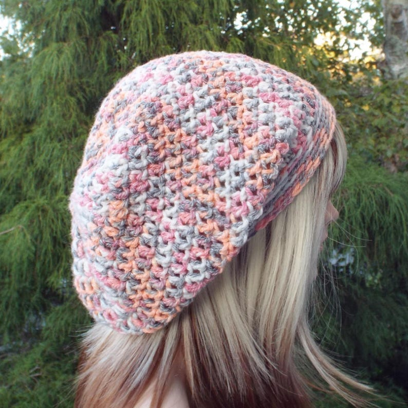 Slouchy Beanie Womens Crochet Hat Harvest Multicolor Slouch image 0