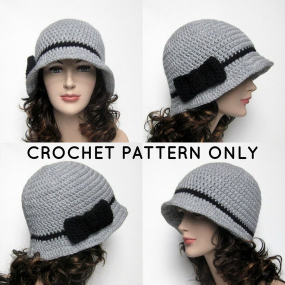 PDF Crochet Pattern Cloche Hat with Bow Womens Flapper Hat  8522af5f323
