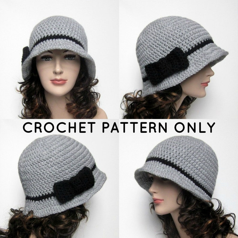 PDF Crochet Pattern Cloche Hat with Bow Womens Flapper Hat image 0