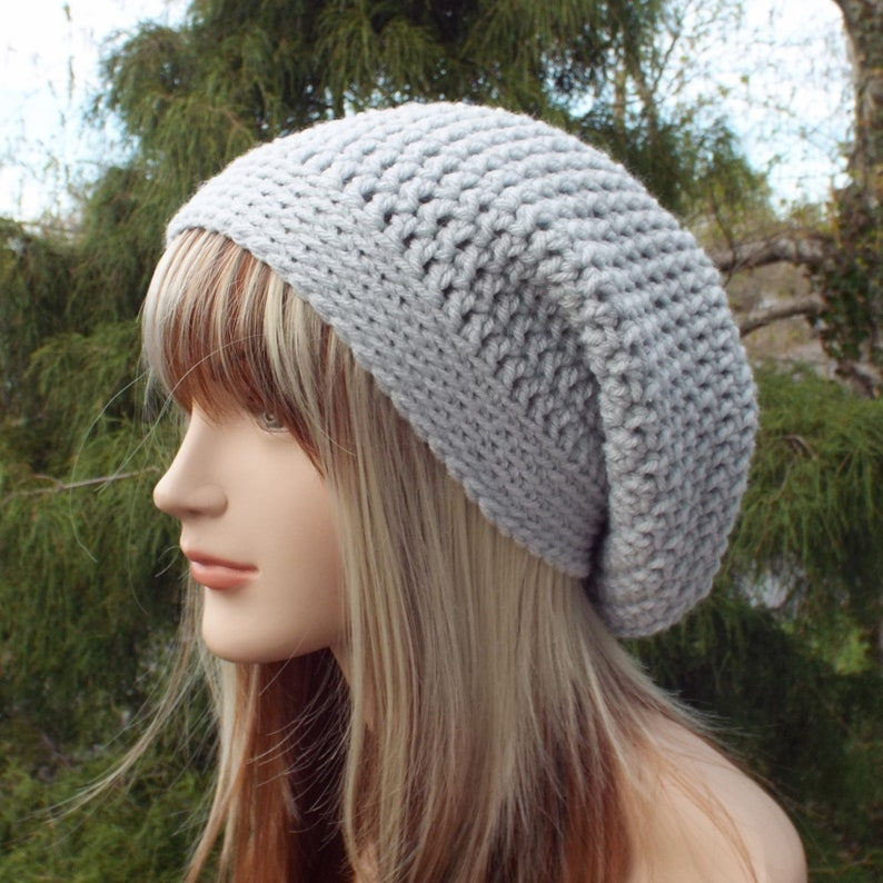 Light Gray Slouchy Beanie Womens Crochet Hat Slouchy Hat image 0