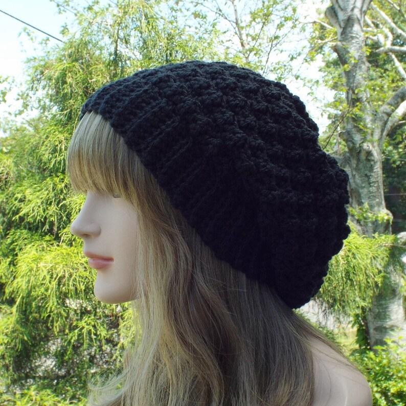 Black Crochet Hat Womens Slouchy Beanie Slouchy Hat image 0