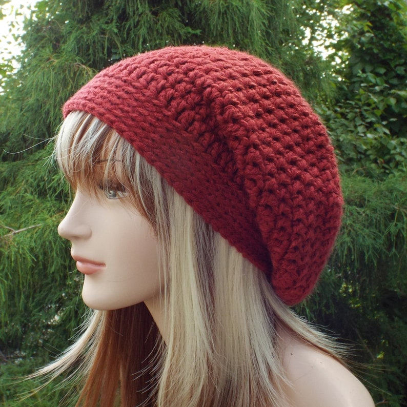 Vermilion Red Slouchy Beanie Womens Crochet Hat Oversized image 0