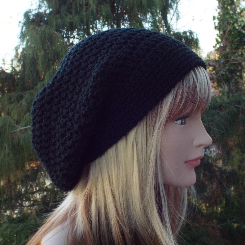 Black Slouchy Beanie Womens Crochet Hat Oversized Slouch image 0