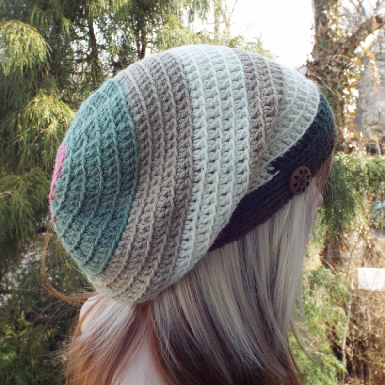 Spring Garden Slouchy Beanie Womens Crochet Hat Slouch image 0